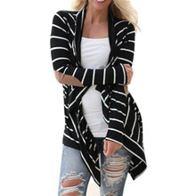 Hot Sales 2017 Autumn Outerwear Women Long Sleeve Striped Printed Cardigan Casual Elbow Patchwork Knitted Soft Sweater Plus Size