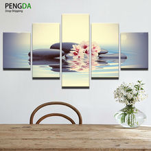 Modern Home Wall Decor Canvas Picture Art HD Print Poster 5 Pieces Stones Peach Blossom Pink Flowers Painting On Canvas Artworks
