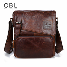 QiBoLu 2017 Vintage Genuine Leather Messenger Bags Men Crossbody Shoulder Bag Man Brown Black Sacoche Homme Bolso Hombre MBA64(China)