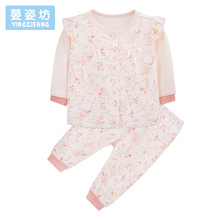 Baby Girls Clothing Sets Autumn Winter Newborn Clothes O-Neck Patchwork Infantil Set Costume Flower Printing Baby Suit(China)