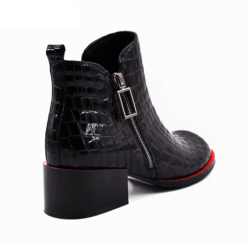 Hot sale Women Boots 17 New Fashion Shoes Woman Genuine Leather black Ankle Boots Winter Warm Wool Snow Square heel Boots 10