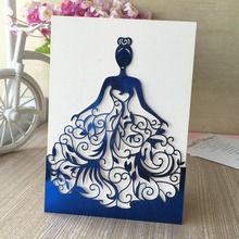 30pcs/lot Beautiful dress girl birthday paty wedding invitation cards Adult Ceremony invitaiton card blessing card QJ-68(China)