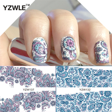 YZWLE 2 Patterns/Set Blooming Flower Nail Art Water Decals Transfer Sticker stickers for nails