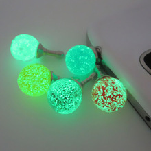 1PC Colurful Round Rhinestone Luminous Dust Plug Mobile Phone 3.5mm Earphone Jack Anti Dust Plug Universal Headphone Dust Cap