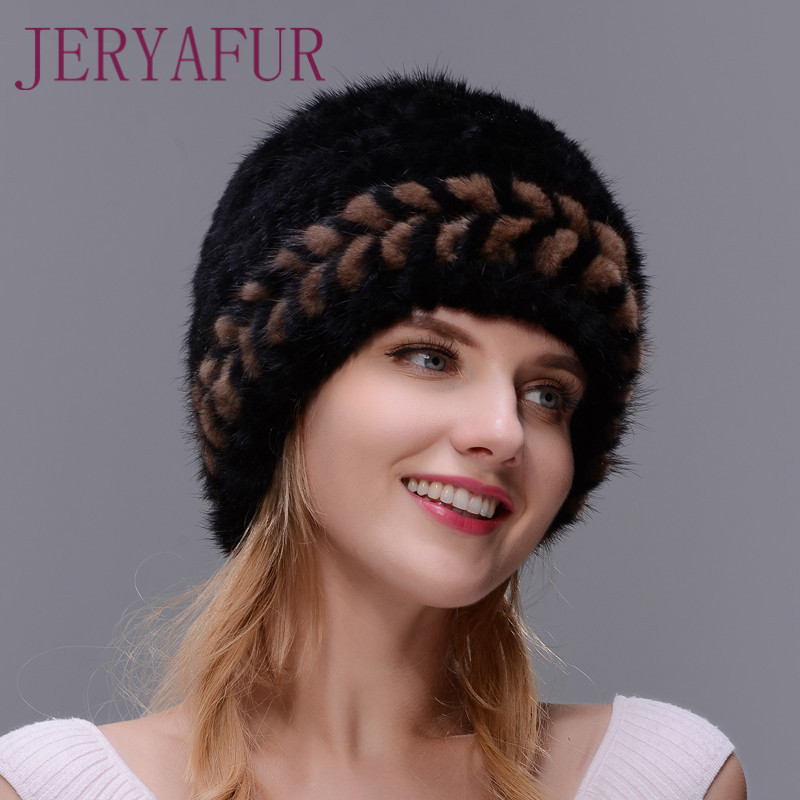 New Winter Warm Hat Real Natural Mink Fur Ear Warm Cap For Women Two-color Spiral Weaving With Small Fox Fur Pompom On The Top Îäåæäà è àêñåññóàðû<br><br>