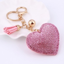 MINHIN Women Lovely Key Chain Multi Colors Leather Love Heart Pendant Key Ring Holder Shinny Rhinestone Bag Jewelry(China)