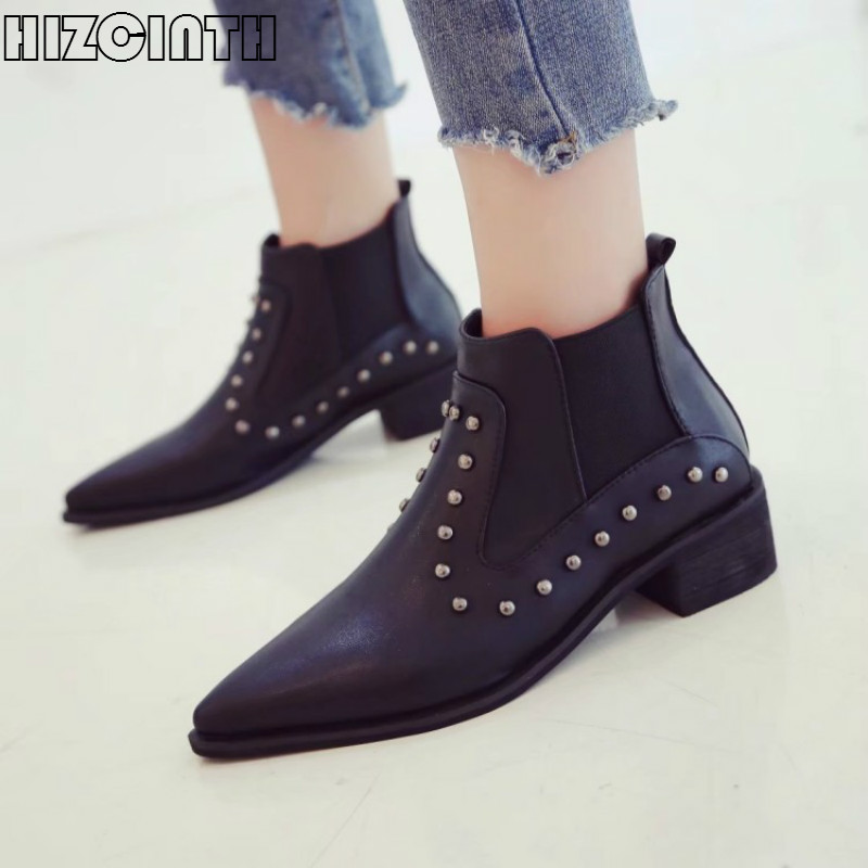 HIZCINTH 2017 Winter Short Boots Elastic Band Pointed Toe Square Heel Rivet Chelsea Boots Ankle Booties Shoes Woman Bota Feminin<br>