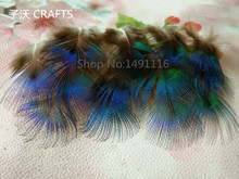 "New! Free shipping sell 20 pc natural quality blue Peacock feathers, 1.2-2"" /3-5cm long, diy jewelry decorative accessories(China)"