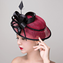 Wholesales new Elegant Ladies Sinamay Wedding Fascinator Hats Bridal Cocktail Hats with Feather For races church wedding party(China)