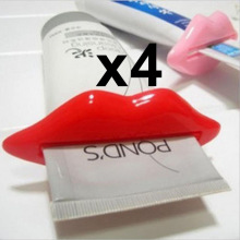 4Pcs Top Sale Sexy Hot Lip Kiss Bathroom Tube Dispenser Toothpaste Cream Squeezer Home Tube Rolling Holder Squeezer