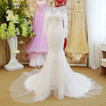 LS61206 white and red mermaid wedding dresses long sleeve tulle button back bridal wedding dressing gowns 2018 latest design(China)