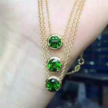 famous brand Green Crystal round Russian natural Semi-precious stones diopside necklace simple fashion green girlfriend gift(China)
