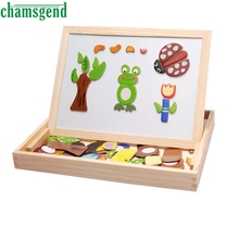 CHAMSGEND Modern Multifunctional Drawing Writing Board Magnetic Puzzle Double Easel Wooden Toy Dropshipping Mr021