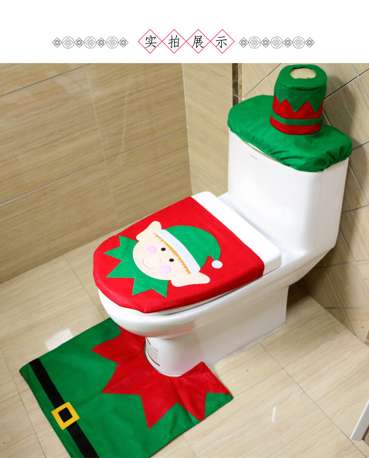 3pcs Set Christmas Bear Toilet Seat Cover And Rug Bathroom Contour Xmas Home