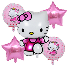 5pcs/set cartoon Hello Kitty Foil balloon set birthday party decoration running KT baby shower wedding balloon supplies girl toy