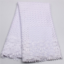Hot Sale White French Lace Fabric High Quality Beautiful African Lace Fabrics For Nigerian Wedding Dress AMY203B-3