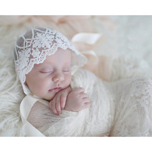 Newborn Photography Props 14X17cm Girl Boy Toddler Lovely Lace Hat Baby Solid Flower Beanies Newborn Photo Shoot
