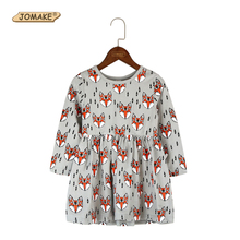 Full Of Cartoon Fox Printed Children Dress Kids Long Sleeve Dress For Girls Infant Costumes Fashion Brand Spring Girls Clothes