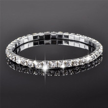 5Pcs/Lot Crystal Bracelets Silver Color Shiny Wristband Single Row Stretched Elastic Strand Bracelets for Women