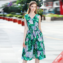 2017 New High Quality Runway Fashion Designer Dress Women's Sleeveless Sexy V Neck Green Hydrangea Printed Dress Free DHL UPS