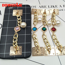 Dower Me Brand Fashion Phone Hanging Ornaments Imitation pearl rhinestone stone chain Mobile Phone lanyard Trim/Decoration