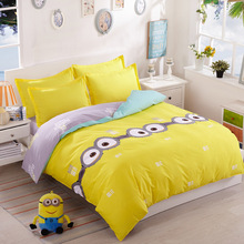 Cartoon Minions Bedding Set Children Kids Bedroom Bed Set Cute Printed Pink Bed Spreads King Queen Twin Size Sjt055