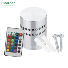 Finether Modern LED Wall Light 3W Aluminum Hollow Cylinder RGB Remote Control Indoor Outdoor Home AC 85-265V(China)