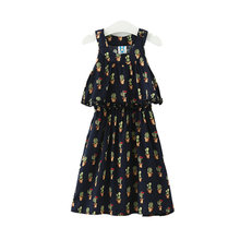 Girls Summer Dress Princess Wedding And Party Dress Fashion Flower Plants Girls Casual Dark Blue Cute A-line Dress