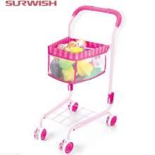 Surwish Mini Supermarket Cart Simulation Shopping Trolley with Fruits and Foods Toys for Kids(China)