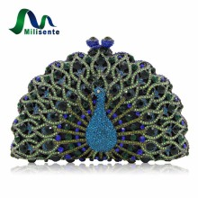 Milisente Green Gold Peacock Shape Clutches Women Animal Luxury Crystal Evening Bags Party Bag Lady Wedding Clutch Bag(China)