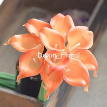 Light Orange Calla Lilies Real Touch Flowers For Silk Wedding Bouquets, Wedding Decorations Artificial calla lily(China)