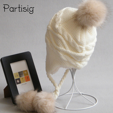Children's Hats Winter Racoon Fur Hats For Kids Girls And Boys Baby Crochet Ear Flap Hat Winter Kids Adult Caps(China)