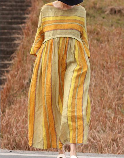 2018 Women's yellow striped, round collar, super loose dress women's gown  17393-41