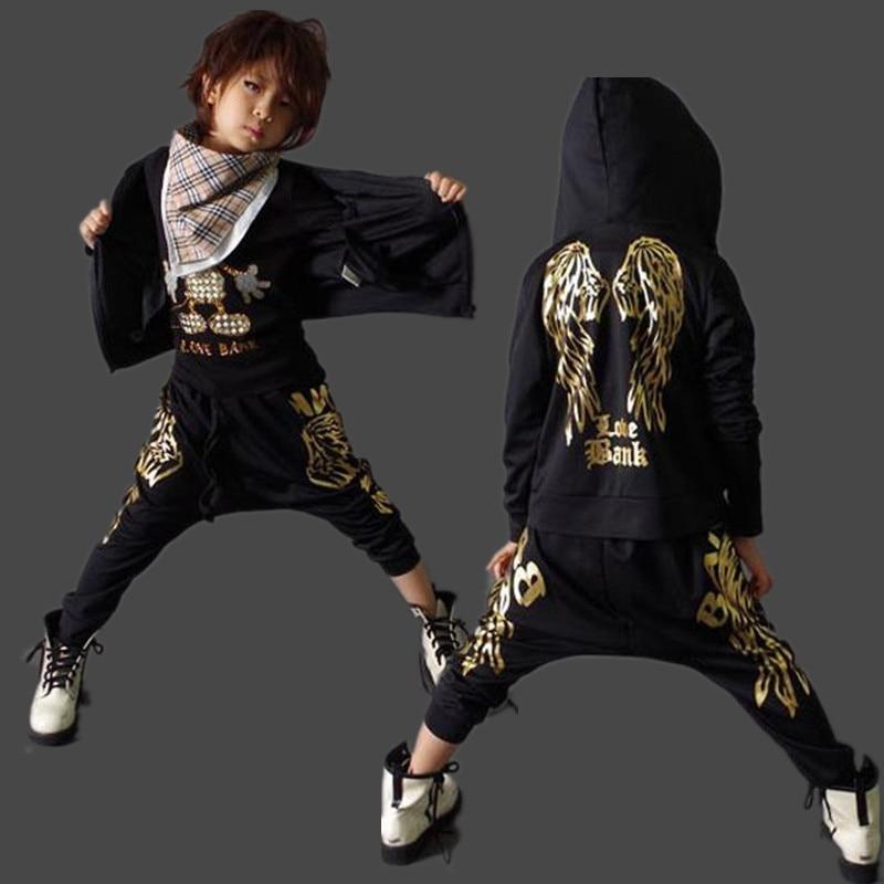 Spring Autumn Kids Clothes Boys Clothing Set 2 Piece long sleeves pant &amp; sweatshirt black gold Children Boys Sports Suits 4-14 <br><br>Aliexpress