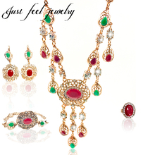 Italy Antique Gold 4PCS Austrian Crystal Bridal Women Luxury Hollow Out Drop Earring Bracelet Ring Adjustable Jewelry Set Clear