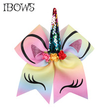 Buy 7'' Large Sequin Unicorn Horn Cheer Bows Glitter Printed Floral Bow Elastic Bands Girls Boutique Hair Accessories for $1.20 in AliExpress store
