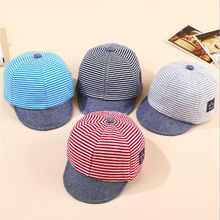 2017 Summer Cotton Comfortable Baby Hats Cute Casual Striped Soft Eaves Baseball Cap Baby Beret Boys Girls Sun Hat