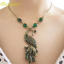 Diomedes Fashion Necklace Women Vintage Style Fashion Pendant Chain Green Enamel Peacock Necklace Eleg Gift Charm Necklace #0112