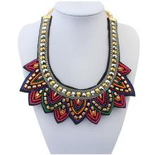2016 Popular Luxury Handmade Beads Necklace New Design Collar Necklaces & Pendants Women Ethnic Bling 5N079
