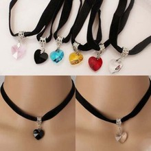 Charm Gothic Velvet Heart Crystal Choker Handmade Necklace Pendant Retro 80 90s New For Girls Cool Collar Jewelry