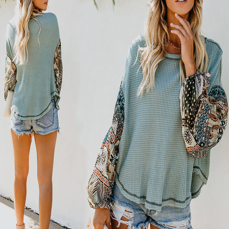 Womens Long Sleeve O-Neck Patchwork Blouse Lady Casual Knitted Autumn LooseTopBL