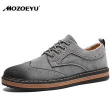 MOZOEYU Men Casual Brogue Shoes 2017 Hot Autumn Suede Leather Elegant Men's Lace Up Oxfords Shoes Retro Men Flats Big Size Shoes