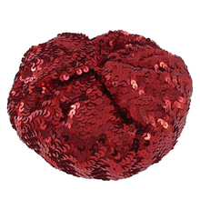 Lady Costume Stretch Sparkly Shining Sequin Beret Beanie Hat red