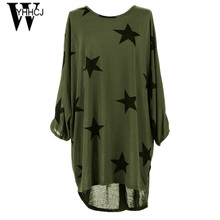 WYHHCJ 2017 new hot loose o-neck summer dress three quarter casual dress women plus size Star print dresses robe femme vestidos