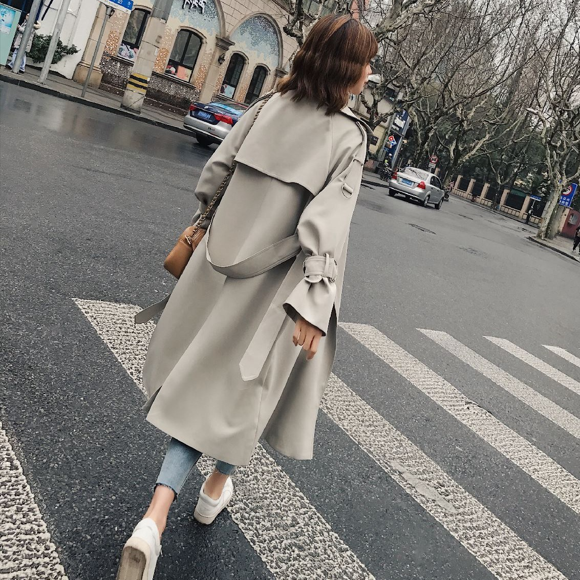 Beige Long Windbreaker Women Surcoat Moda Muje Outerwear Chic Waisted Clothes Loose Coat Autumn Trench Coat Manteau Femme