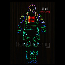 TC-92 Programming design led robot costumes ballroom luminous cloth men models stage wears dj party singer robot full color suit(China)