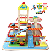 akitoo Children Play Toy Simulation Of Large Solid Three Layers Of Wooden Toys Assembled Car Parking Lot Set Track