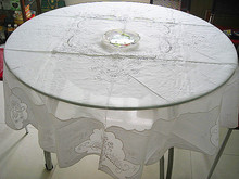 Glass yarn round table cloth artex handmade embroidery table cloth treasures