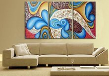 handpainted 3 piece heavy color modern abstract oil painting on canvas wall art for home decoration unique gift free shipping(China)
