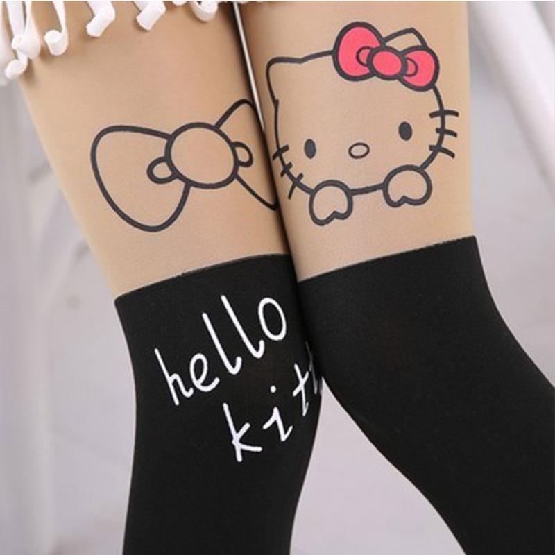 Summer Baby Kids Girls Thin Leggings Knee Cute Cartoon Patchwork Velvet Stocking white Cartoon Kitty Cat Leggings 3-9Y 23